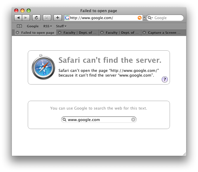Unhelpful Safari error message when google is not available