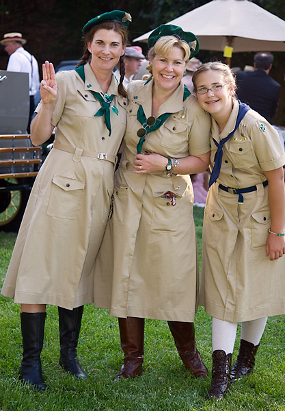 Women in vintage girl guide uniforms at the Art Deco Society of California\'s Gatsby Picnic 2008