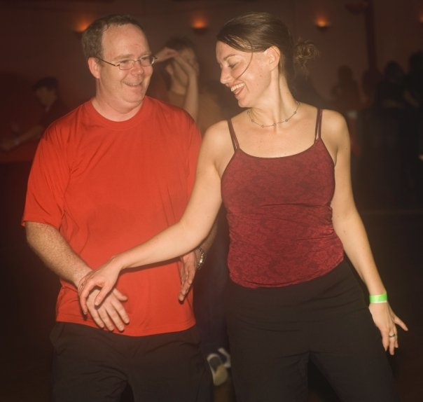 Me dancing with cute girl. Photo by Larry